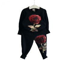 Girls clothing sets children clothing autumn Girls clothes Long sleeve Roses Floral Embroidered tracksuits