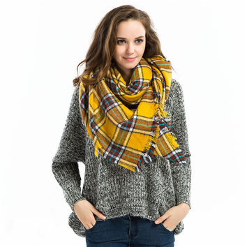 Women Winter Warm Yellow Plaid Scarf [9572850895]