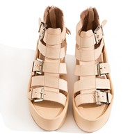 Jeffrey Campbell Thetis Tan Buckled Sandals
