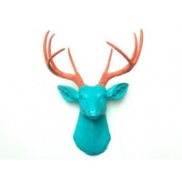 Faux Taxidermy Deer Head - Turquoise Stag Head With Coral Antlers - Unique Fake Resin Deer Decor - Animal Friendly Wall Art - D6167
