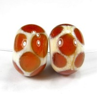 Ivory Lampwork Beads Medium Amber Dots Glossy Glass Dot Beads - $3.00 : Covergirlbeads, Lampwork Beads and Charms Handmade by Glass Artist Charlotte Hayes