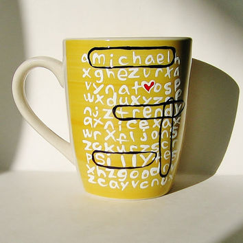 Thoughtful Personalized Word Search Mug Yellow Gift for Friends and Family