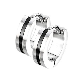 Thin Black Line Hoop Earrings - Black IP Center Surgical Grade Stainless Steel Hoop Earrings with Brushed Surface