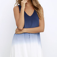 BB Dakota Gisela Blue Dip-Dye Swing Dress