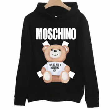 Moschino 2018 new cotton bear print men and women hooded sweater black