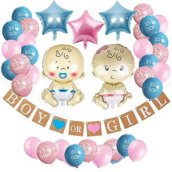 "Gender Reveal Party Supplies Kit -46pcs- Pregnancy Announcement-""Boy or Girl"" Banner, Baby Boy and Girl Foil Balloon"