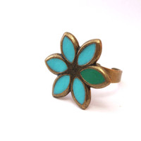 "Gold turquoise ring bohemian flower jewelry green aqua brass ring"" Make a whish""ring"