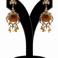 Fashion Earrings for Women in Amber and White Stones