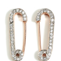 18K Rose Gold Vermeil Rhinestone Safety Pin Earrings by Genevieve Jones Now Available on Moda Operandi