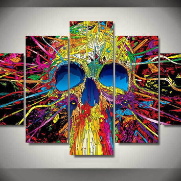5 Piece Framed Painting Colorful skull lines Group Painting room decor print poster picture canvas flamenco dancer painting