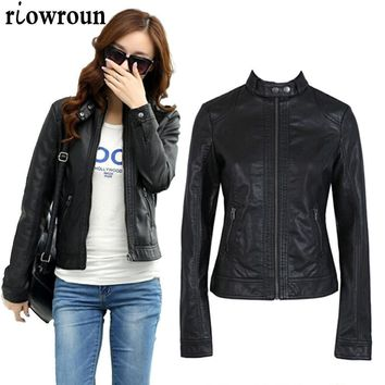 Women Leather Jacket Single Pimkie Washed PU Leather Motorcycle Jacket PIMKIE Jacket Slim Female Soft Leather Large Size S-XXXL