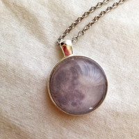 Full moon image silver pendant necklace