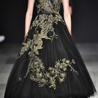 Gold Embroidered Tulle Gown | Moda Operandi