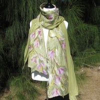Nuno Felted Shawl in Lichen Green With Lavender Flowers. Luxurious Soft Silk and Wool  Spring Accessory. Woodland Wearable Art Wrap.