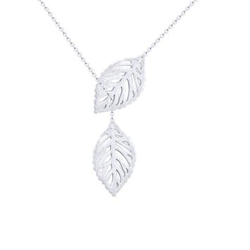 Hollow Double Leaf Pendant Necklaces