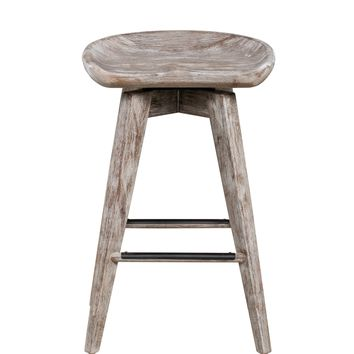 "24"" Bali Swivel Counter Stool, Bali Grey Wire-Brush"