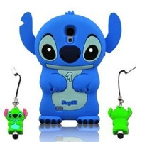 I Need 3D Blue Fixed Ear Flip Silicone Cover Case Stitch & Lilo For Samsung Galaxy S4 S Iv I9500 Android Phone with 3d Stitch Stylus Pen - Blue