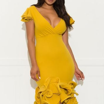 Gimme More Ruffle Dress- Yellow