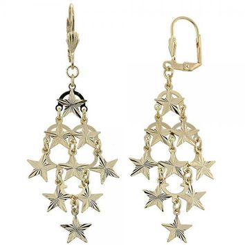 Gold Layered 02.63.2211 Chandelier Earring, Star Design, Diamond Cutting Finish, Gold Tone