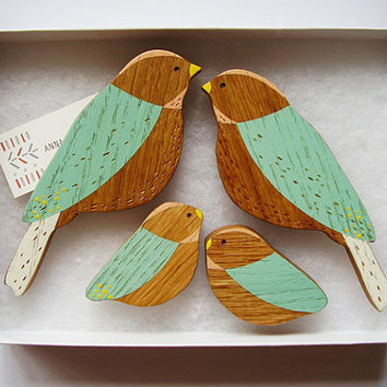 Wooden Wall birds - Family sets