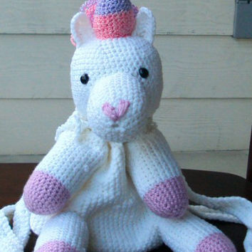 Crocheted Unicorn Pony Backpack / Pouch - Amigurumi, Kids, College