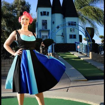 Just Desserts Dress in Black Sateen with Blues   Pinup Girl Clothing