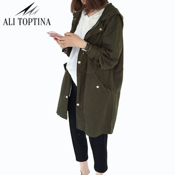 2017 New Thin Basic Outerwear Plus Size Short Design Hooded Coat Loose Fit Print Letter Street Fashion Trench Fy14