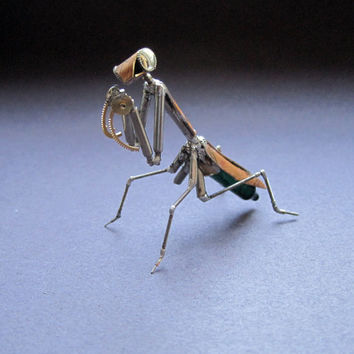 "Watch Parts Praying Mantis ""Mantis No 30"" Sculpture Recycled Mechanical Clockwork Mantis Mantid Watch Stems Faces Insect A Mechanical Mind"