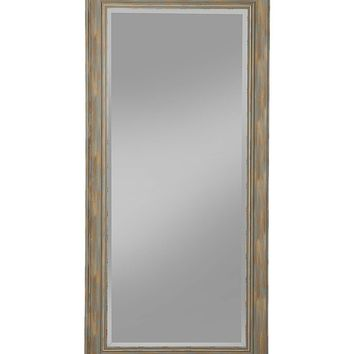 Farmhouse Style Full Length Leaner Mirror With Polystyrene Frame, Blue