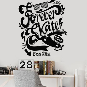 Vinyl Wall Decal Skate Quote Teen Room Skateboard Stickers Unique Gift (ig4539)