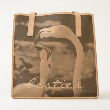 """Besties"" flamingos close-up photo leather tote"