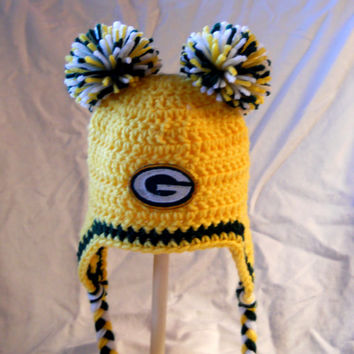 Green Bay Packers Crochet Ladies Cheerleader Ear Flap Hat with Large Double Pom Poms and Embroidered Packers Logo - WARM