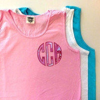 Monogrammed Comfort Colors TANK Top with Lilly Fabric Natural Circle Appilque in bright pink