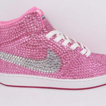 Custom Pink Nike Shoes as made for Trisha Paytas Rhinestone Nike, Hot Pink Nike, Pink