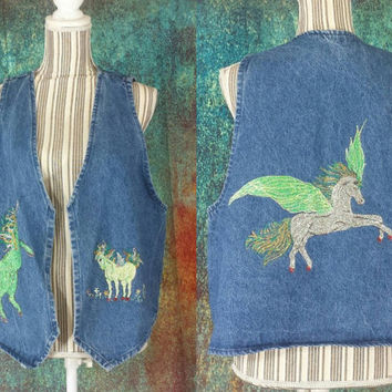 Glitter Unicorn Denim Vest Vintage Handmade Painted Unicorns Blue Jean Retro 90s Grunge Sleeveless Top 80s Hipster Womens Clothes
