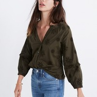 Embroidered Bubble-Sleeve Shirt