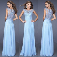NEW-Women Short Sleeve Prom Ball Party Evening Cocktail Lace Dress Bridesmaid Dress [8401198663]