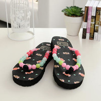 YESSTYLE: 59 Seconds- Beaded Thong Flip Flops (Black - One Size) - Free International Shipping on orders over $150