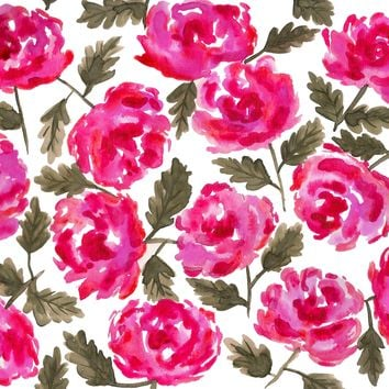 Pink Roses Leaves Watercolor Painting