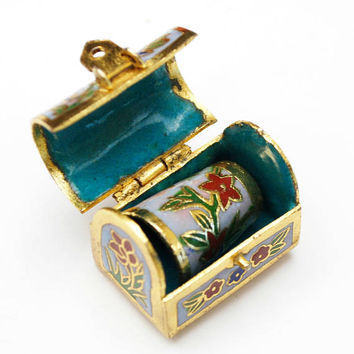 Enamel Thimble and trinket box - cloisonne gold green  blue - Floralflower - Turquoise