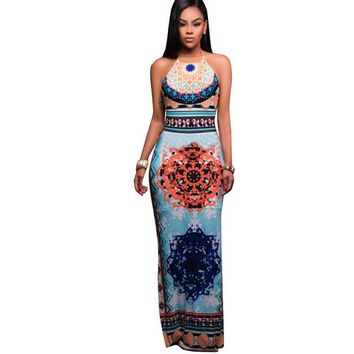 2017 Sexy Summer Dress Retro Drawstring Open Back Women Dresses Pleated Ethnic Side Split Halter Drawstring Maxi Dress Vestidos