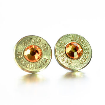 Bullet Stud Earrings - Silver and Orange
