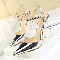 BIGTREE Sexy Point Toe Patent Leahter High Heels Pumps Shoes 2017 Newest Woman's Sandals Heels Shoes Wedding Slingbacks Pumps
