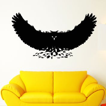 Vinyl Wall Decal Mouse Owl Predator Bird Feathers Wings Stickers Unique Gift (1766ig)