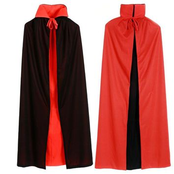 Halloween Costumes for Boys Men Collar Death Vampire Cloak Cape Gown Red Black 2 Side Wear Party Cosplay Robe for Adult Children