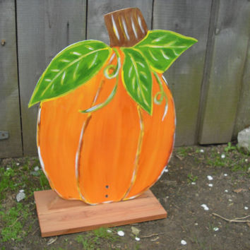 Outdoor fall Halloween pumpkin stand Fall pumpkin stand Wood pumpkin on stand Pumpkin yard stake garden stake fall pumpkin JackJacksWayart