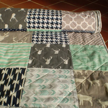 Modern Baby quilt-baby girl quilt, baby boy bedding,Patchwork crib quilt,toddler,mint green,grey,navy,deer,stag,arrows,chevron,-Elkimint