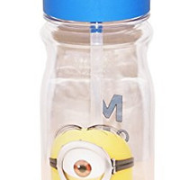 Zak! Designs Tritan Water Bottle with Flip-Up Spout and Straw with Despicable Me 2 Minions Graphics, Break-resistant and BPA-free Plastic, 16.5 oz.