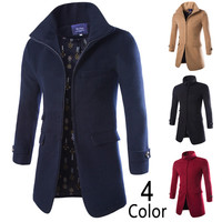 Slim Fit Zip Up Turtle Neck Men's Wool Coat