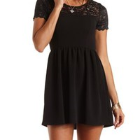 Lace Yoke Skater Dress by Charlotte Russe - Black
